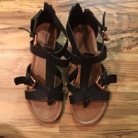 Express Shoes - Black Strappy Sandals